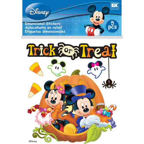 EK Success - Disney Collection - Halloween - 3 Dimensional Stickers with Epoxy Foil and Glitter Accents - Mickey and Minnie Trick or Treat