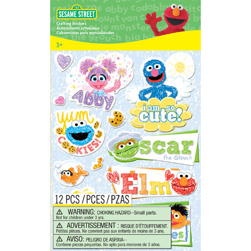 EK Success - Sesame Street Collection - 3 Dimensional Stickers with Glitter Accents - Patches