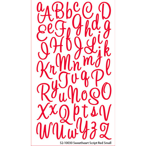 EK Success - Sticko Alphas Stickers - Glitter - Small - Sweetheart Script - Red
