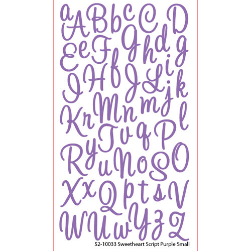 EK Success - Sticko Alphas Stickers - Glitter - Small - Sweetheart Script - Purple