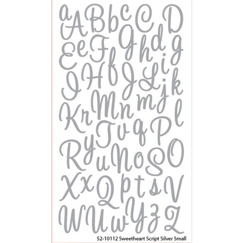 EK Success - Sticko Alphas Stickers - Glitter - Small - Sweetheart Script - Silver