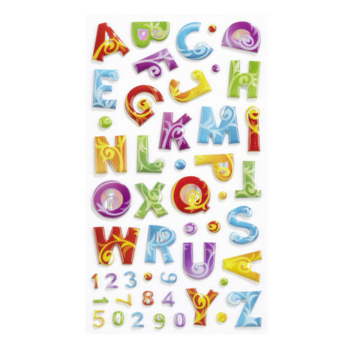 EK Success - Sticko Puffy Stickers - Alphabet and Numbers - Small - Colorful Flourish