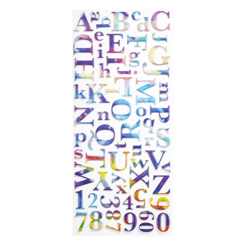 EK Success - Sticko Puffy Metallic Stickers - Alphabet - Large - Watercolor