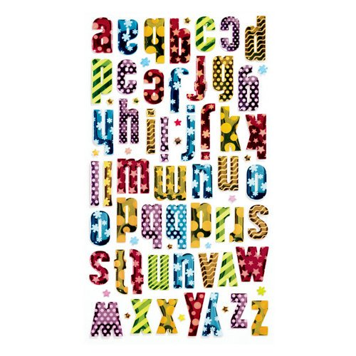 EK Success - Sticko Metallic Epoxy Stickers - Alphabet - Small - Patterned Colorful
