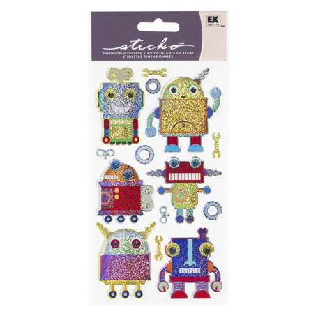 EK Success - Sticko Sparkler Stickers - Robots