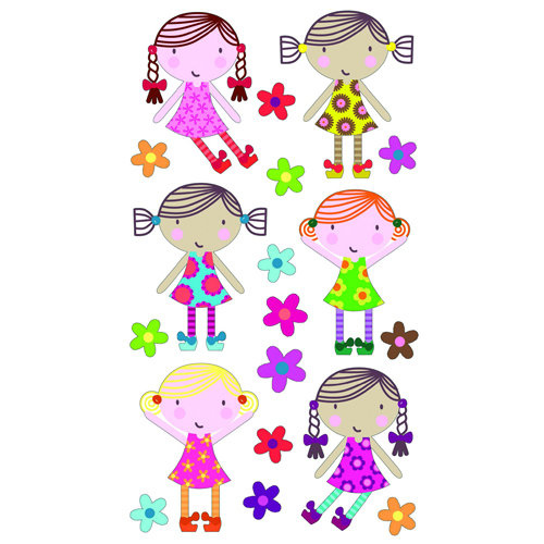 EK Success - Sticko Sparkler Stickers - Cute Dolls
