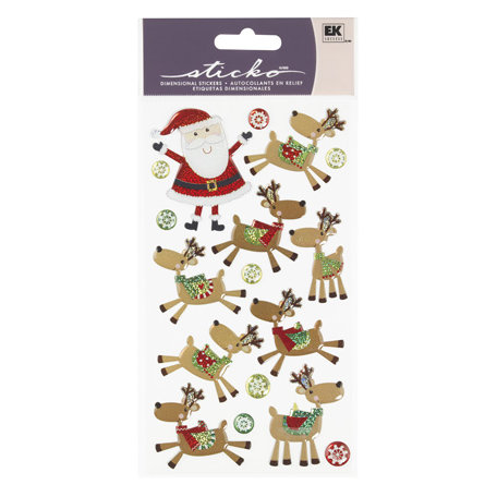 EK Success - Sticko Sparkler Stickers - Christmas - Santa and His Reindeer