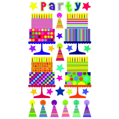EK Success - Sticko Sparkler Stickers - Party Cakes n Hats