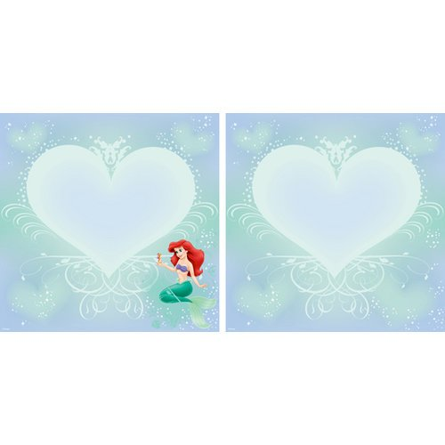 EK Success - Disney Collection - 12 x 12 Double Sided Paper with Glitter Accents - Ariel Heart