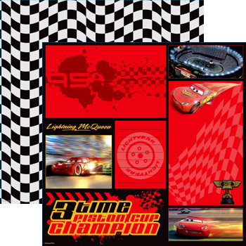 EK Success - Disney Collection - 12 x 12 Double Sided Paper - Cars - McQueen Color Block