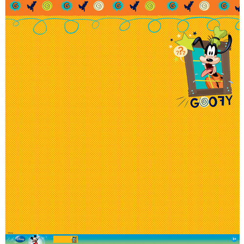 EK Success - Disney Collection - Mickey Family - 12 x 12 Paper with Glitter and Varnish Accents - Goofy