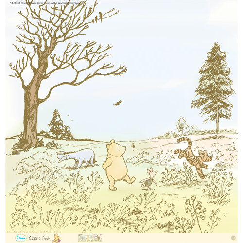 EK Success - Disney Collection - Classic Pooh - 12 x 12 Paper with Glitter Accents - Romp in the Woods