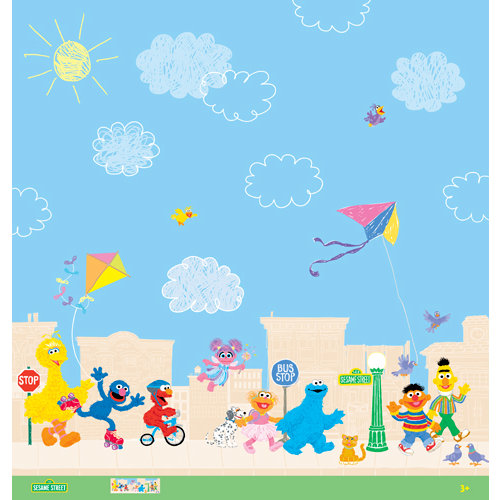EK Success - Sesame Street Collection - 12 x 12 Paper - Street Scene