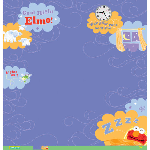 EK Success - Sesame Street Collection - 12 x 12 Paper with Varnish Accents - Elmo Goodnight