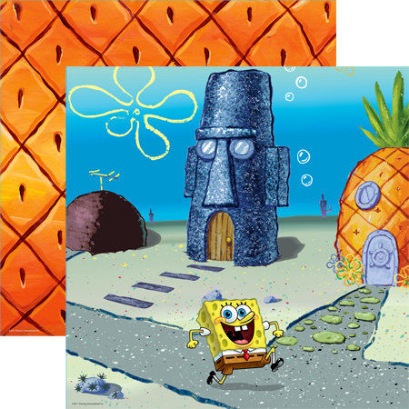EK Success - Nickelodeon Collection - 12 x 12 Double Sided Paper with Varnish Accents - SpongeBob Scene