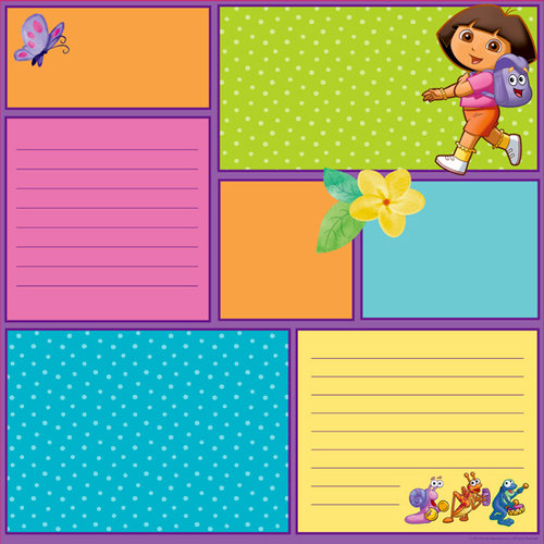 EK Success - Nickelodeon Collection - 12 x 12 Double Sided Paper with Varnish Accents - Dora Color Block