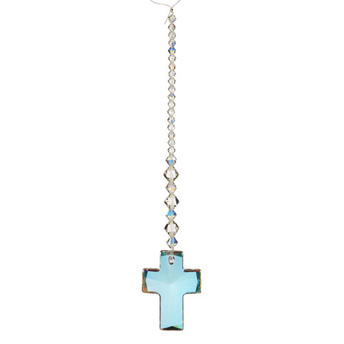 EK Success - Jolee's Jewels - Crystallized Swarovski Elements Collection - Jewelry Crystal Bicone and Pendant Strand - Large Cross - Aurora Borealis