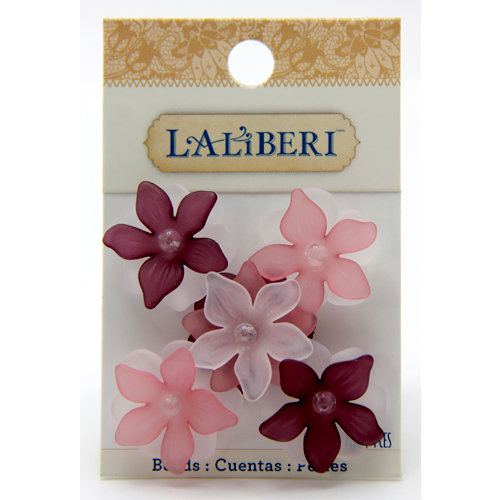 EK Success - Laliberi - Jewelry - Beads - Large Open Flowers - Pink and Red Assorted