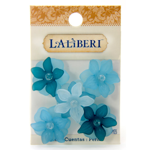 EK Success - Laliberi - Jewelry - Beads - Large Open Flowers - Teal Assorted