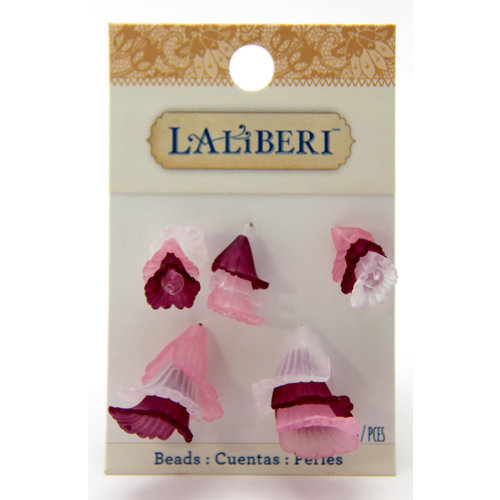 EK Success - Laliberi - Jewelry - Beads - Mixed Flute Flowers - Pink and Red Assorted