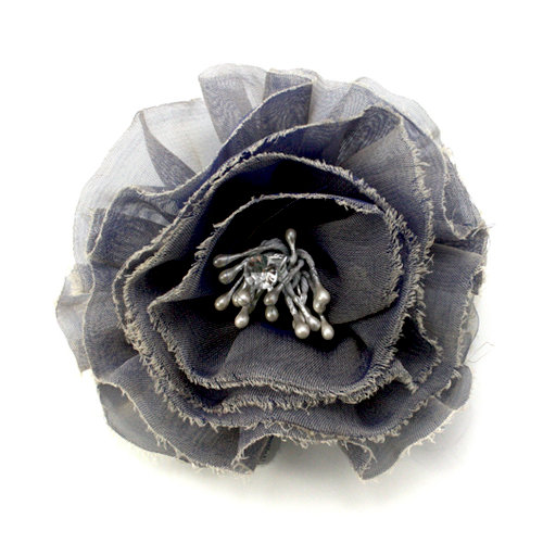 EK Success - Laliberi - Julie Comstock - Jewelry - Ready to Wear Flower - Gray Blue Ruffle