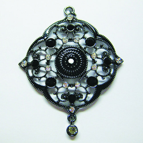EK Success - Jolee's Jewels - Crystallized Swarovski Elements Collection - Jewelry Pendant - Filigree Scallop - Black Mix