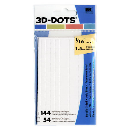 "3-D Dots - Adhesive Foam Squares - White - 1/16"" Thick"