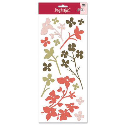 EK Success - Inspirables - Beauty Collection - Flocked Shapes Stickers, CLEARANCE