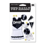 EK Success - Pep Rally Dimensional Stickers - Cheerleading - Black, CLEARANCE