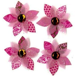 EK Success - Jolee's Boutique - 3 Dimensional Stickers - Pink Cluster Flowers