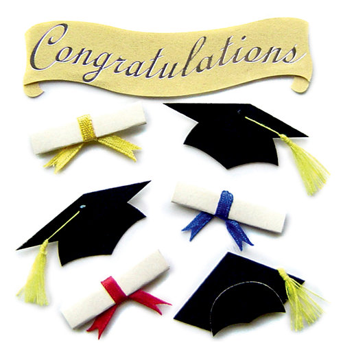 EK Success - Jolee's Boutique - 3 Dimensional Stickers - Cap and Diploma