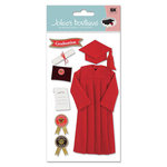 EK Success - Jolee's Boutique Le Grande  Dimensional Stickers - Graduation Collection - Cap and Gown - Red