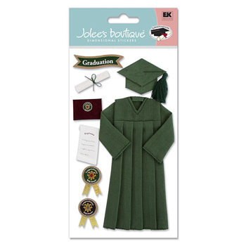 EK Success - Jolee's Boutique Le Grande  Dimensional Stickers - Graduation Collection - Cap and Gown - Green