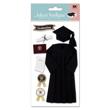 EK Success - Jolee's Boutique Le Grande  Dimensional Stickers - Graduation Collection - Cap and Gown - Black