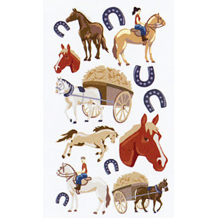 EK Success - Sticko Puffy Stickers - Horse Ranch