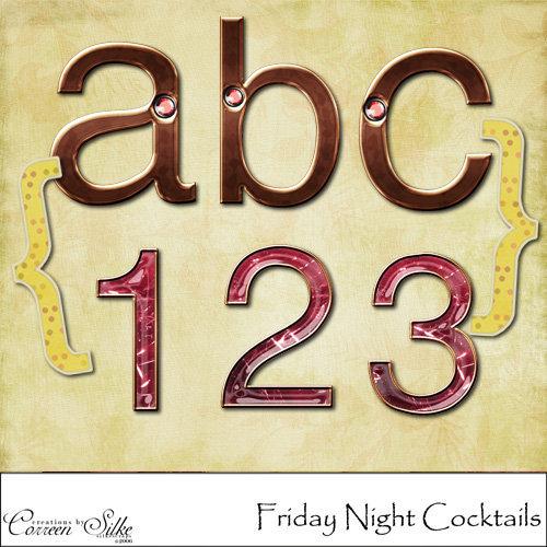 Digital Element Kit - Friday Night Cocktails - Alphabet