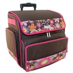 Everything Mary - Rolling Scrapbook Tote - Brown and Pink Floral