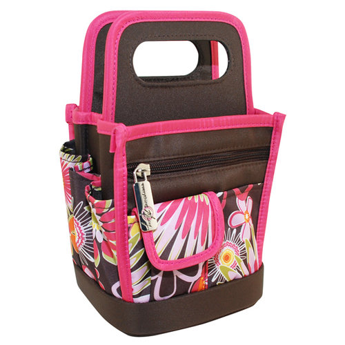 Everything Mary - Scrapbook Desktop Organizer - Brown and Pink Floral