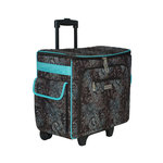 Everything Mary - Quilted Rolling Sewing Tote - Turquoise and Chocolate