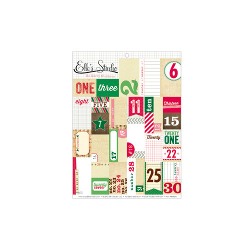 Elle's Studio - Be Merry Collection - Christmas - Paper Tags - Cutouts - Numbers