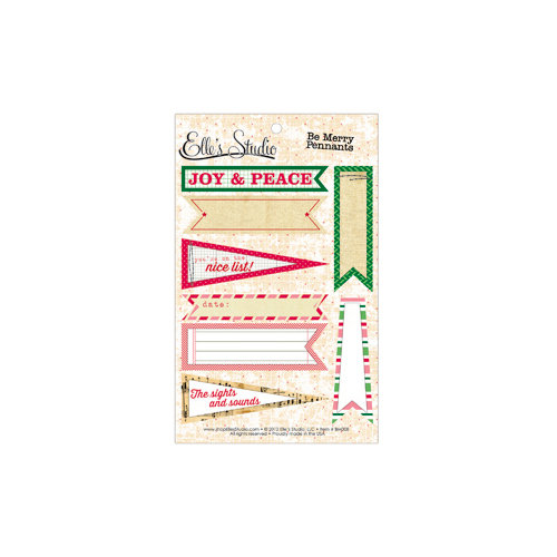 Elle's Studio - Be Merry Collection - Christmas - Paper Tags - Pennants