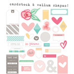 Elle's Studio - Cienna Collection - Bits and Pieces - Die Cut Cardstock and Vellum Pieces