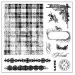 Fiskars - Clear Acrylic Stamps - 8 x 8 - Tartan 'n Time, CLEARANCE