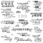 Fiskars - Clear Acrylic Stamps - 8 x 8 - Just Married Quotes