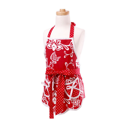 Flirty Aprons - Scalloped Style Collection - Designer Aprons - Girl's - Scalloped Sassy Red