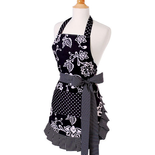 Flirty Aprons - Original Style Collection - Designer Aprons - Women's - Sassy Black, CLEARANCE