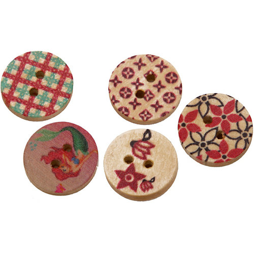 FabScraps - Wooden Buttons - Flower Fields