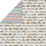 FabScraps - Beach Affair Collection - 12 x 12 Double Sided Paper - Fish
