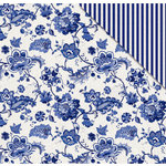 FabScraps - Floral Delight Collection - 12 x 12 Double Sided Paper - Delft Flowers