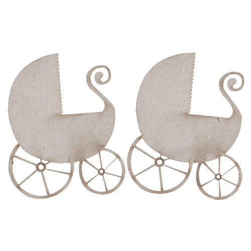FabScraps - Vintage Baby Collection - Die Cut Embellishments - Pram - Baby Carriage